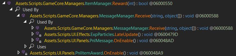 Analyzer result of ItemManager.Reward