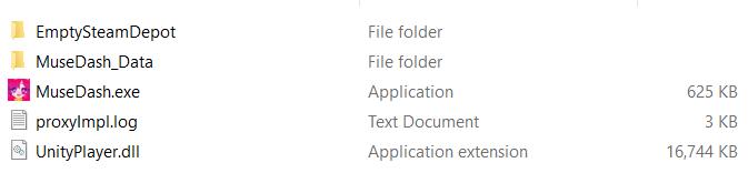 Main folder layout of Muse Dash